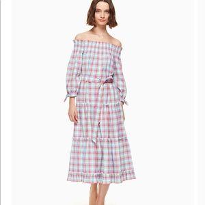 Kate Spade Madras off Shoulder dress Size XS
